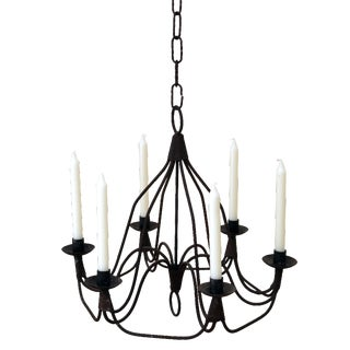 Wrought Iron Six Light Chandelier