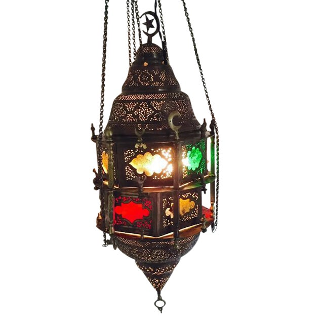 Antique Turkish Pierced Brass Pendant Lamp - Image 1 of 10