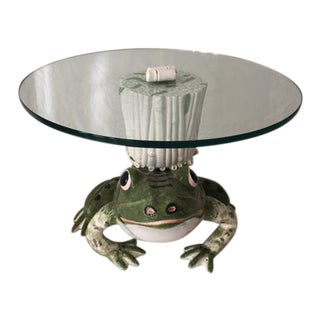 Italian Ceramic Glass Top Frog Table