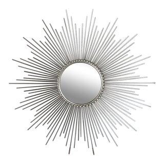 Global Views Hollywood Regency Silver Convex Sunburst Mirror