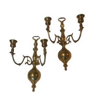 1960's Brass Double Candle Sconces - A Pair