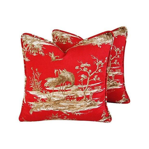 Designer Shanghai Crane Toile Pillows - Pair - Image 2 of 8