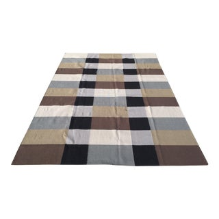 Contemporary Black/ Gray/ Brown/ Cream Dhurrie Wool Rug - 9' X 12'