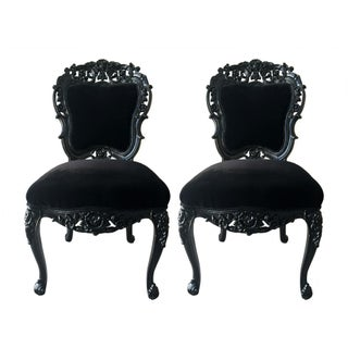 Vintage French Baroque Carved Glossy Black Chairs