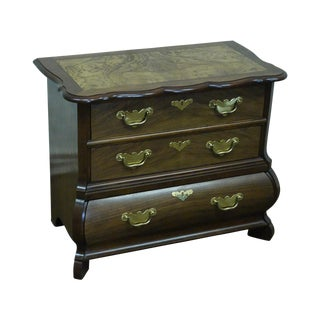 Baker Furniture Burl Wood & Walnut Bombe Chest