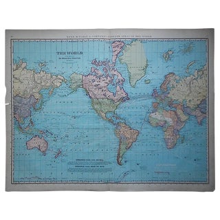 "Antique World Map-27.5""x22.5"""