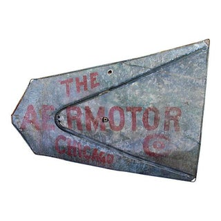 Large Metal Antique Chicago Aermotor Windmill Sign