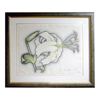 """White Lily"" Modern Drawing"