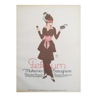 Original 1926 German Bakery Poster, Stylish Woman Eating Macaroons