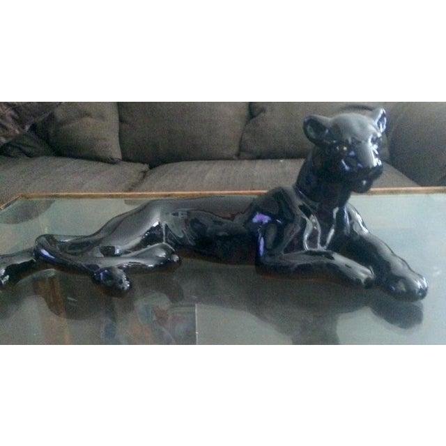 Image of Art Deco Black Jaguar Figure