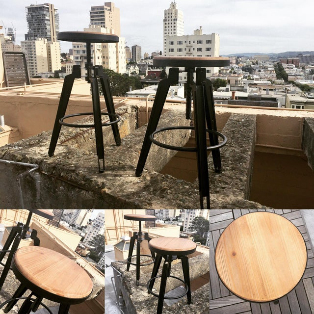Industrial Adjustable Vintage Stool - Image 10 of 11