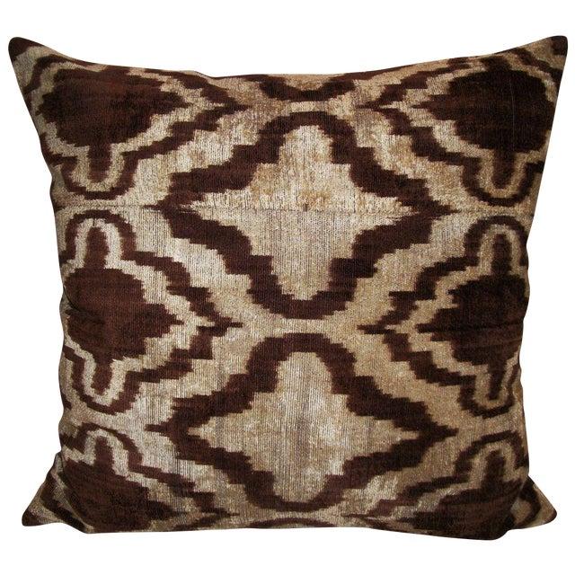 Walnut Wash Silk Velvet Ikat Pillow - Image 1 of 2