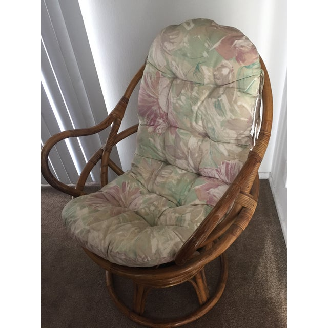 Vintage Rattan Swivel Chair - Image 4 of 10
