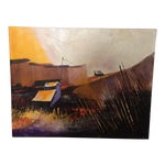 Image of Vibrant Multi Color Mid-Century Modern Country Landscape Farm Barn Farmhouse Painting