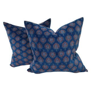Block Print Velvet Pillows- A Pair