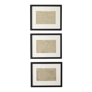 Vintage Framed French Music Sheets - Set of 3