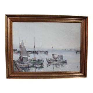 Sailboat at Harbor Original Painting