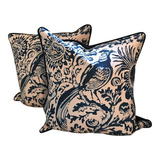 Scalamandre Chinoiserie Toile Linen Pillow Covers - A Pair