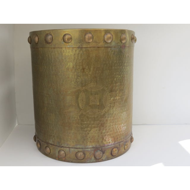 Brass Drum-Style Cachepot - Image 2 of 8