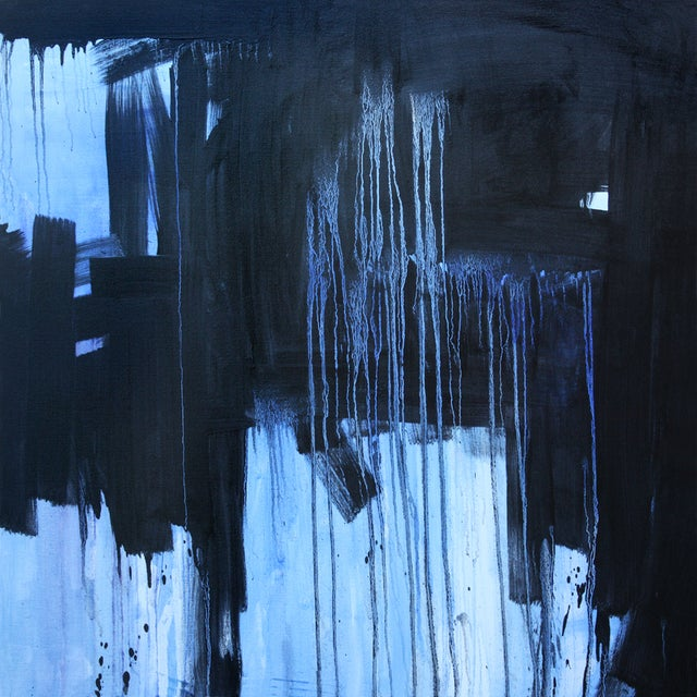 Image of Large Black Bright Blue Abstract Original