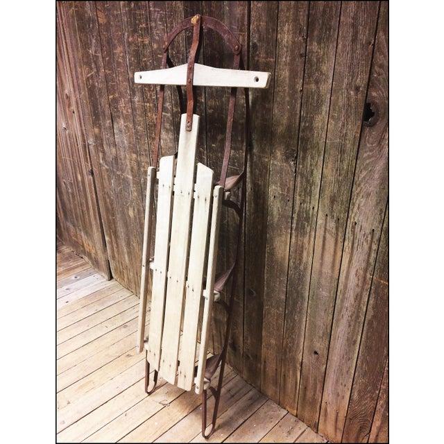 Vintage Brown Weathered Wood & Metal Runner Sled - Image 5 of 11