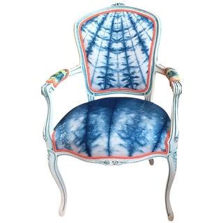 Vintage French Indigo Shibori Armchair