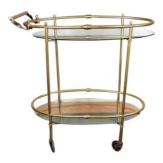 Vintage Mid-Century Gold & Glass Bar Cart