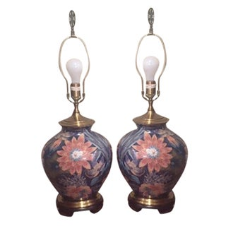 Floral Table Lamps - A Pair