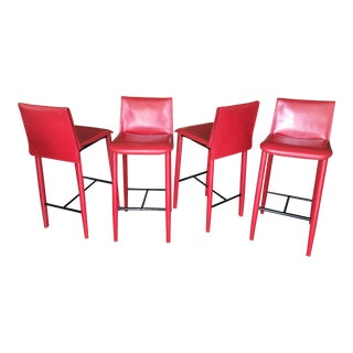 "Fasem of Italy ""Relaix"" Red Leather Barstools - Set of Four"