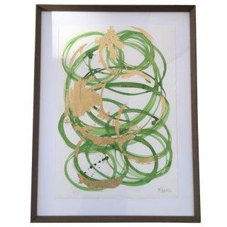 Green & Gold Circles, Mixed Media on Paper