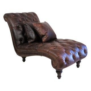 Brown Leather Tufted Chaise Lounge
