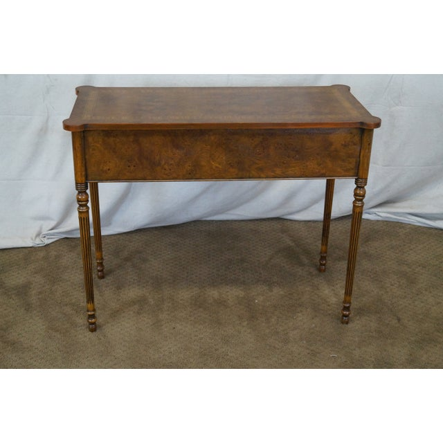 English Burl Walnut Sheraton Style Console Table - Image 4 of 10