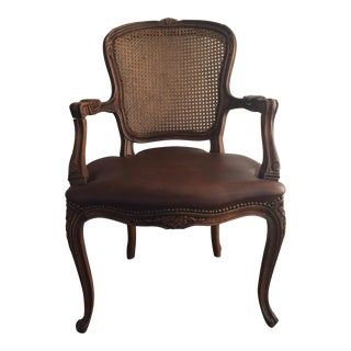 Antique French Cane and Leather Accent Chair