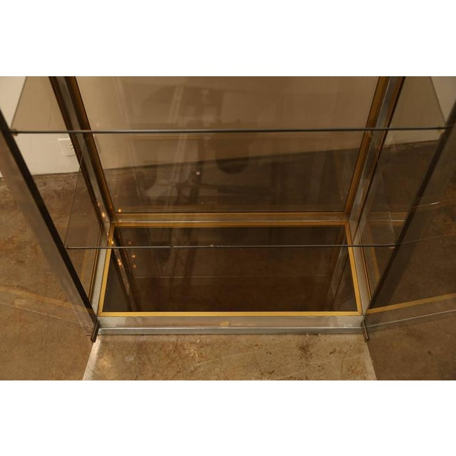 Image of Chrome, Brass and Smoked Glass Vitrine by Romeo Rega