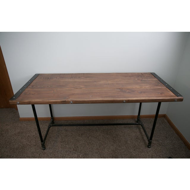 Image of Solid Wood Industrial Desk