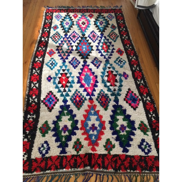 Vintage Colorful Moroccan Azilal Rug - 4' X 8'
