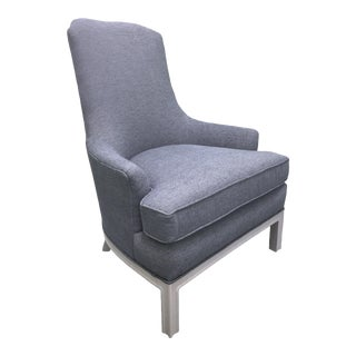 Hollywood Regency Newly Upholstered Blue & Gray Armchair