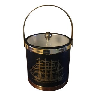Vintage Clipper Ship Ice Bucket & Tongs