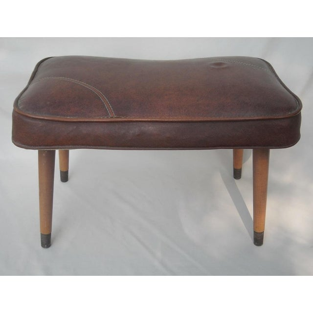 Danish Modern Brown Vinyl Ottoman - Image 4 of 6