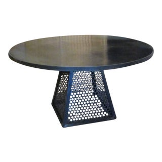 Contemporary Round Industrial Steel Dining Table