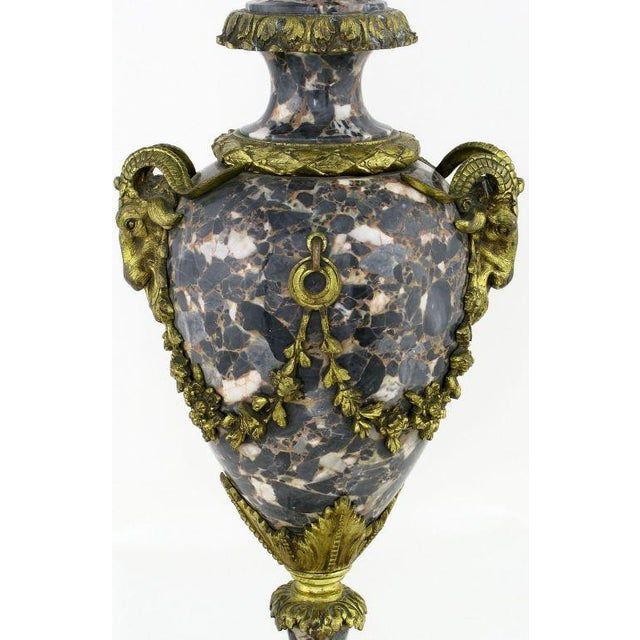 Marble Urn Form Lamp With Bronze Rams Heads And Ormolu - Image 8 of 10