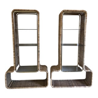 1970s Wicker Brass & Smoked Glass Shelving - A Pair