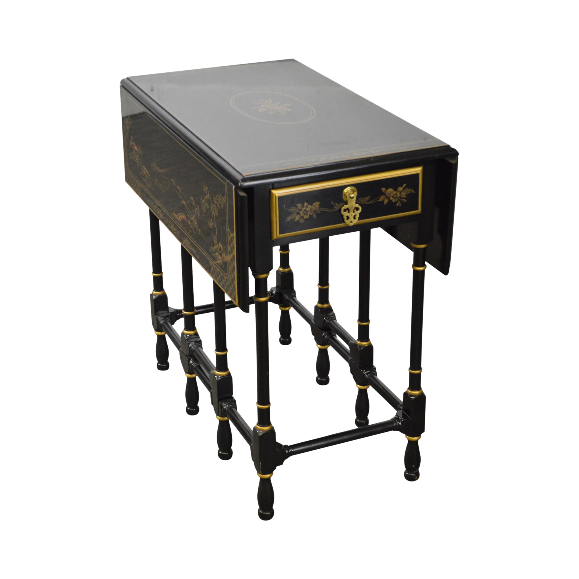 Drexel Heritage Ebonized Chinoiserie Drop Leaf Gate Leg 1 Drawer Side Table