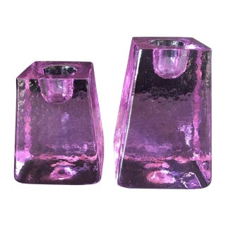 Purple Ice Cube Candle Holders - A Pair
