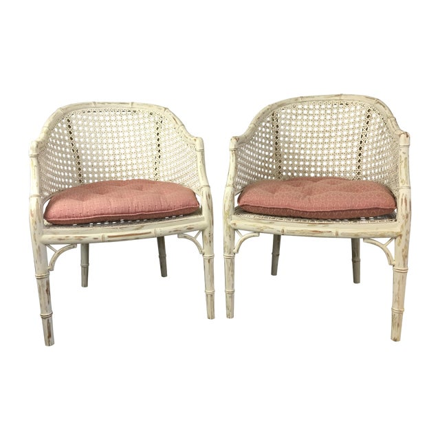 Vintage Faux Bamboo Rattan Chairs - A Pair - Image 1 of 8