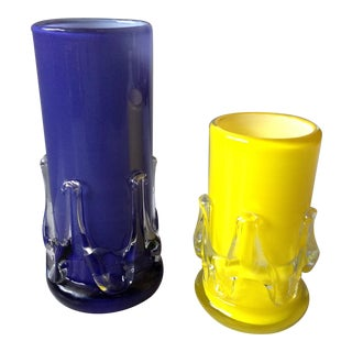 Yellow and Purple Cased Art Glass Vases - Pair