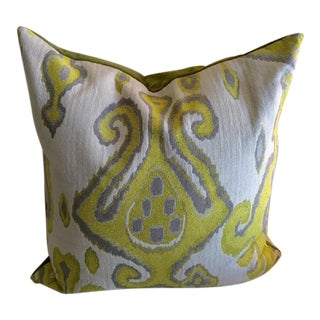 Chartreuse Ikat Velvet Back Pillow