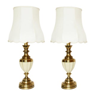 Stiffel Brass & Porcelain Lamps & Shades - A Pair