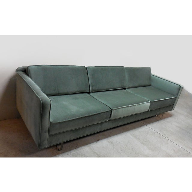 Mid-Century Modern Green Sofa With Lucite - Image 4 of 6