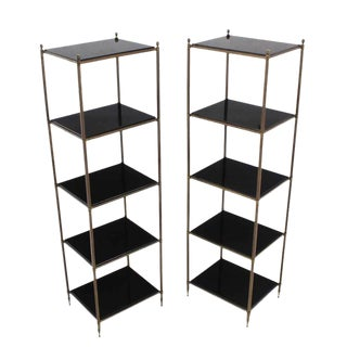 Pair of Brass Etageres with Thick Granite Shelves